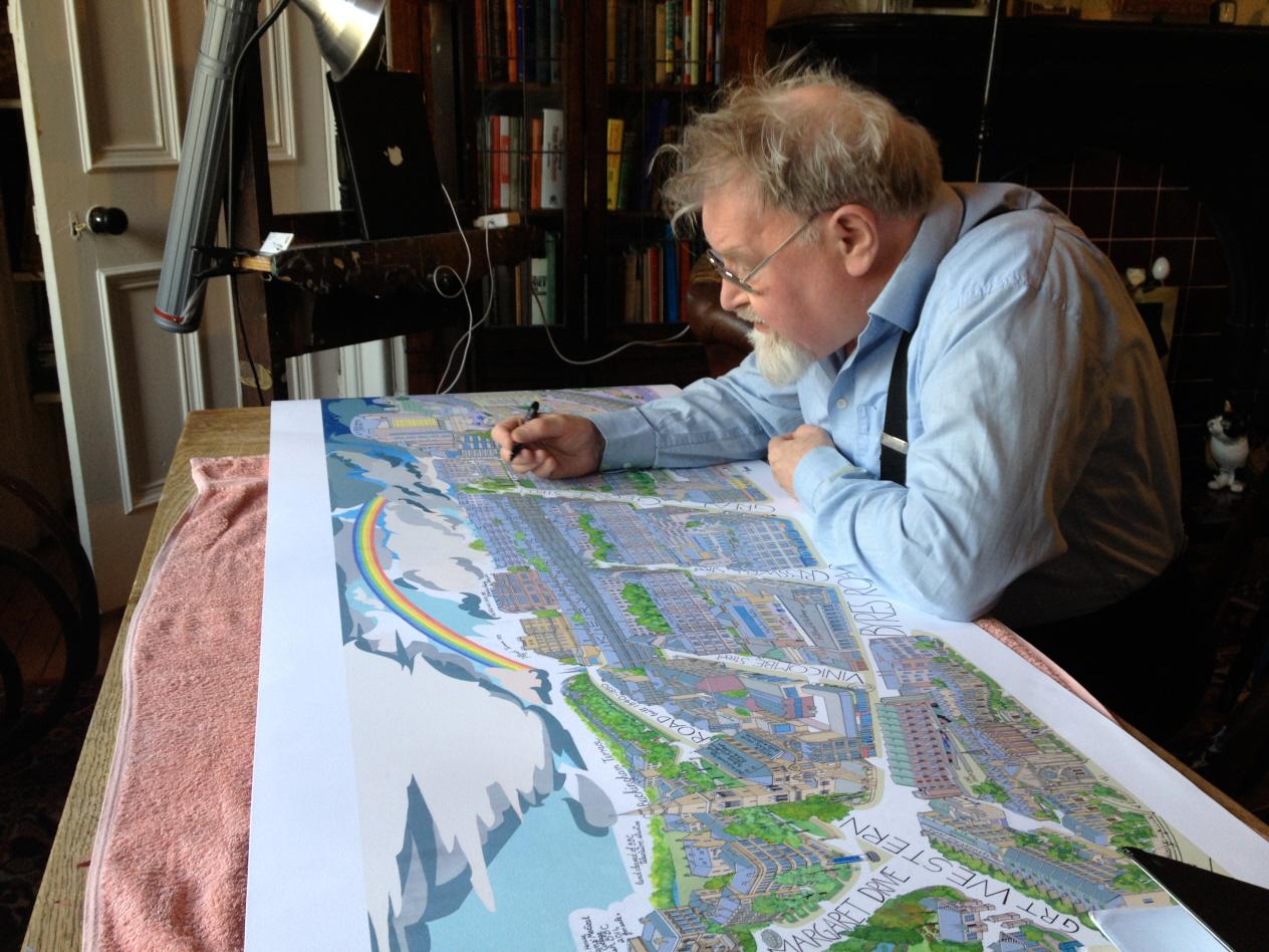 Een bezoek aan de alisdair gray overzichtstentoonstelling for Alasdair gray hillhead mural