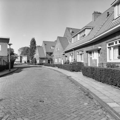 Straat en huizen in grijs en wit