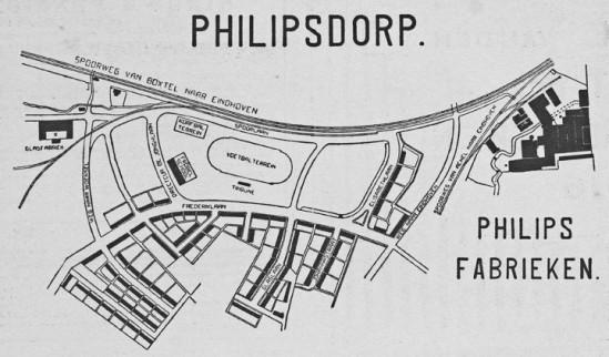 Plattegrond van Philipsdorp Eindhoven in 1915