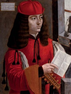 """Afbeelding van """"Portrait of a gentleman in a red coat and cap holding a lute and a letter"""""""