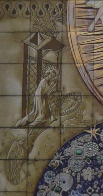Het kerstverhaal op het tegeltableau van de Poolse madonna in de Poolse kapel van Breda, ontworpen door Jan Gladdines (1954). Herkomst: Wikimedia Commons. Foto G.Lanting (2008).