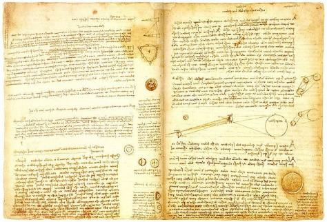 Een pagina uit Leonardo's Leicester Codex, vol met astronomische schetsen. Microsoft-oprichter en Multimiljonair Bill Gates kocht het achttien pagina's tellende boekwerk voor 30,8 miljoen dollar