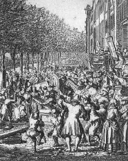 Afbeelding van gravure van Aansprekers oproer. Plundering van het huis van Burgemeester Boreel.