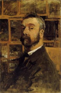 man geschilderd, voor-zijaanzicht, zwart haar, zwarte snor en baard, achtergrond beige omlijstte vierkanten