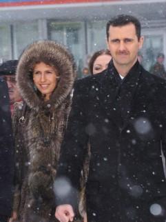 Bashar al-Assad en zijn vrouw Asma tijdens een bezoek aan Moskou