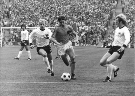 Cruijff tijdens de WK finale 1974, Nederland versus West-Duitsland
