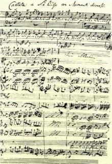 Pagina van de partituur van de Koffiecantate