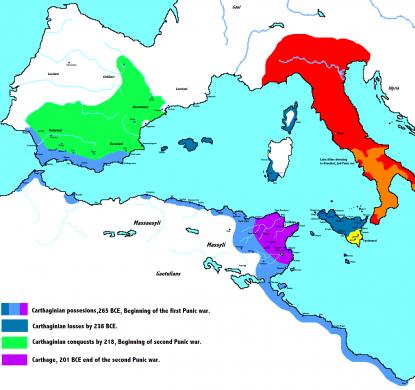 Groei en krimp van het Carthaagse Rijk tijdens de eerste twee Punische Oorlogen