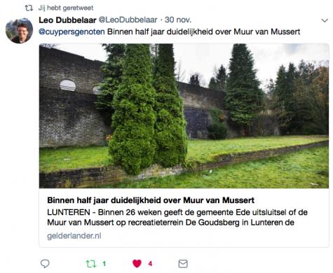 Een van de acties van het Cuypersgenootschap betreft het behoud van de omstreden muur van Mussert. Screenshot Twitter bvhh.nu 2017.