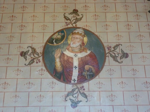 De heilige Clemens in de Clemenskerk te Oud-Merkelbeek door dom Romanus Jacobs (1901). Foto Marij Coenen 2014.