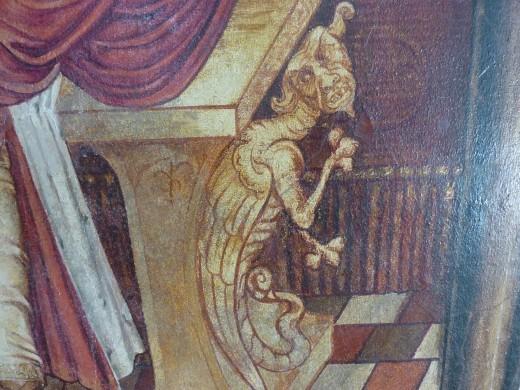 Het monstertje Titynillus bij de stoel van koning David, geschilderd door dom Romanus Jacobs (1901). Foto Marij Coenen 2014.
