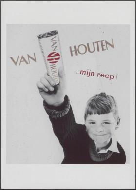 Van Houten reclameposter - jongetje met chocoladereep
