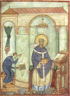 Paus Gregorius de Grote met de duif die hem volgens de legende de beroemde kerkzang influisterde