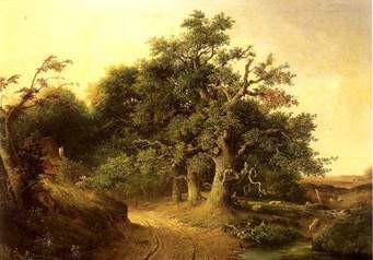 Bruine boom tegen gelige achtergrond
