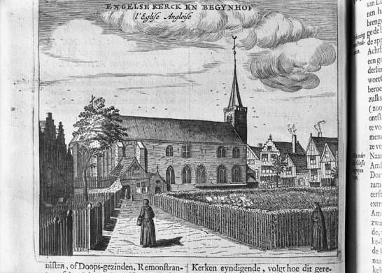 Kerk en tuin van Begijnhof Amsterdam