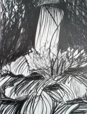 zawrte achtergrond met wit erdoor heen gekrast, witte baan in midden beeldvlak uitmondend in rozet
