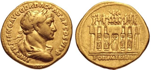 Foto van aureus van Trajanus