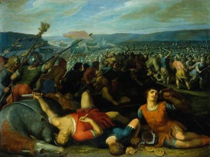 Foto van het schilderij 'De Bataven verslaan de Romeinen bij de Rijn', door Otto van Veen