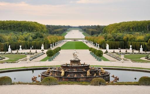 Foto van de tuinen van Versailles, gezien vanaf de Place d'armes