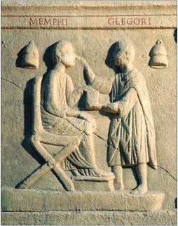 Reliëf van een Romeins oogarts die een patiënt behandeld, 2e eeuw na Christus