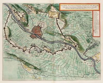 Kaart van het beleg en de inname van Maastricht in 1632, uit de Atlas van Loon (1649)