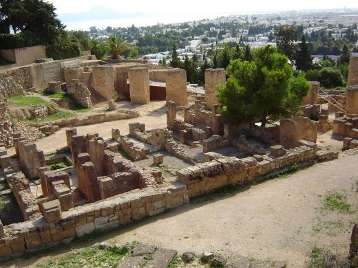 Carthaagse ruïnes op de Byrsa-heuvel, Tunis