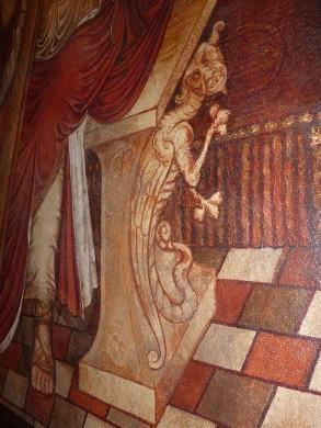 Het monstertje Titynillus bij de troon van David in de Clemenskerk van Merkelbeek.