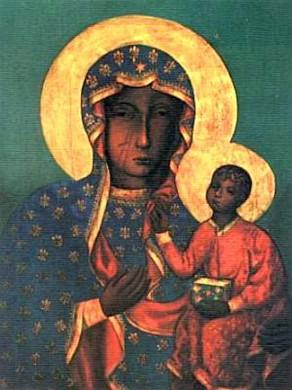 De Poolse madonna met Christuskind zonder de oklad. Herkomst: Wikimedia Commons (fotograaf en datum onbekend).