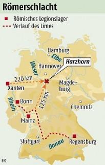 Locatie van Romeins slagveld bij de Harzhorn, ruim 125 kilometer van de Limes.