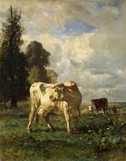Afbeelding van schilderij Cows in the Field