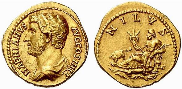 Aureus met daarop Hadrianus en een personificatie van de Nijl