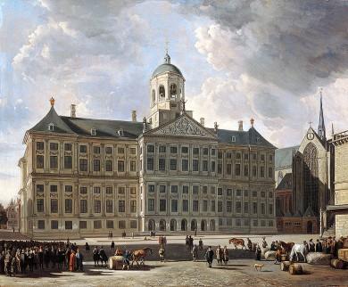 Schilderij van Berckheyde met daarop het stadhuis op de Dam, ontworpen door Jacob van Campen