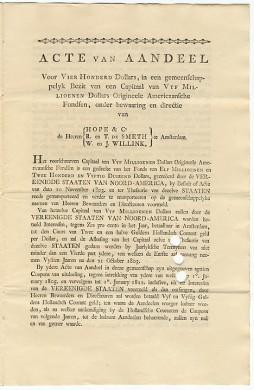 Een aandeel in de Louisiana Purchase, uitgegeven in 1804 door Hope & Co