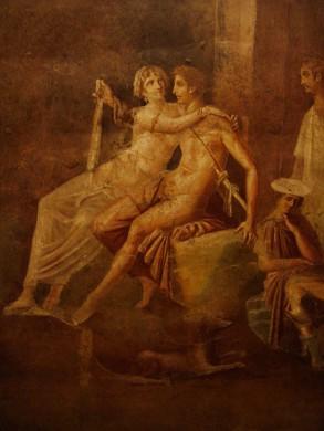 Dido en Aeneas op een Pompeiiaans fresco in de Derde Stijl