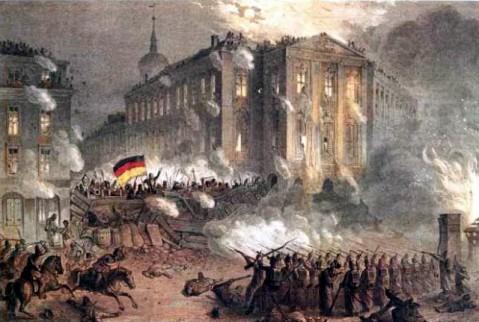 Opstand op het Alexanderplatz in Berlijn 1848