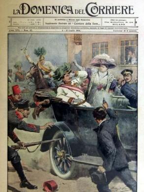 Afbeelding op de voorkant van het Italiaanse blad Domenica del Corriere, waarop de moord op Franz Ferdinand wordt afgebeeld