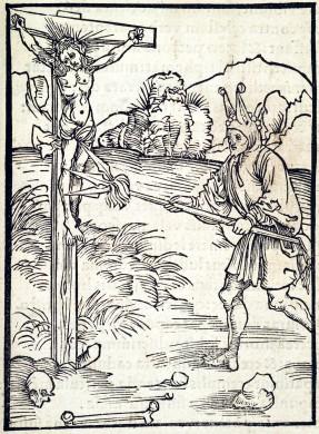 Prent met symbolische weergave van godslastering, toegeschreven aan Albrecht Dürer