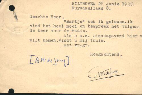 Briefkaart A.M. de Jong