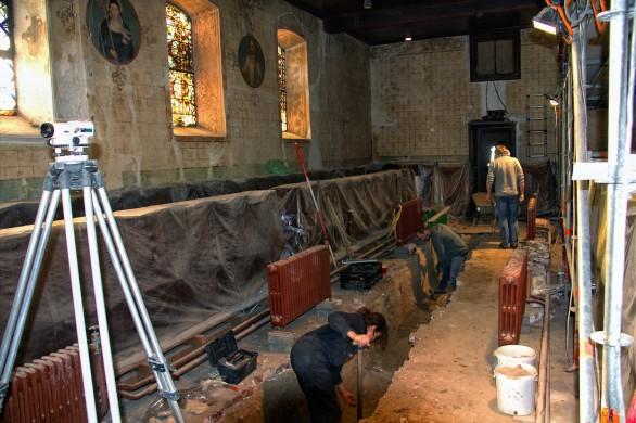 Archeologische opgravingen in de Clemenskerk van Oud-Merkelbeek. Herkomst foto: Clemensdomein.