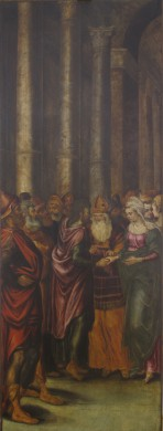 Figuren met oranje, groene, bruine, rode gewaden, achtergrond, wit bruin