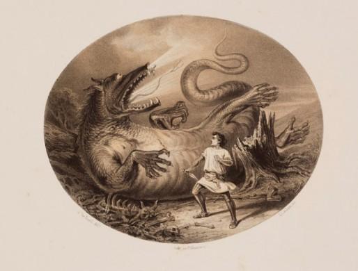 Ronde afbeelding, vuurspuwende draak op de rug gelegen, man met dolk, wit gewaad