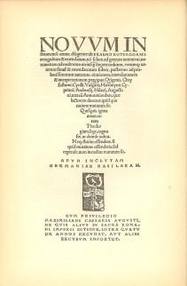 Indexpagina van het Novum Instrumentum (1516)
