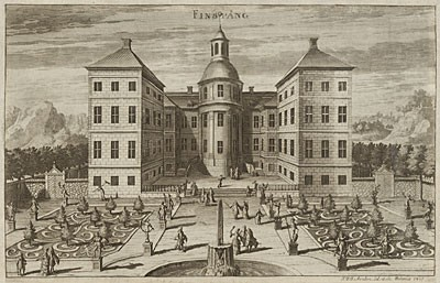 Kasteel te Finspång rond 1700, Zweden. Hier woonde Louis de Geer
