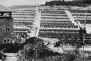 Overzichtsfoto van kamp Flossenbürg, genomen na de bevrijding in 1945.