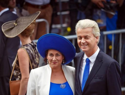 Portret van Geert Wilders en zijn vrouw tijdens Prinsjesdag 2014