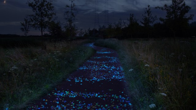 Zwarttblauwe omgeving, blauw oplichtende vlekken in paarsblauw fietspad