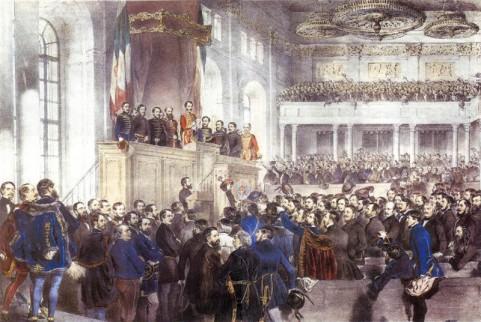 Schilderij opening Hongaarse parlement 1848