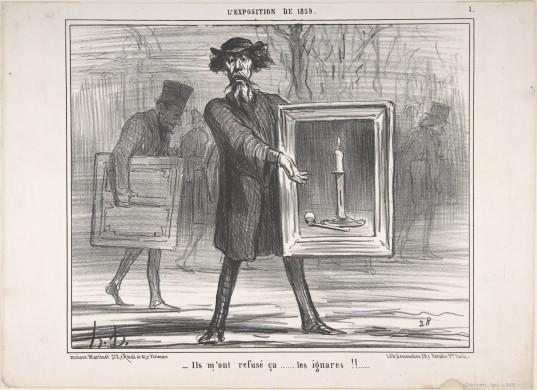 Honoré Daumier, 'Ze hebben dit geweigerd …wat een onbenullen!! (Ils m'ont refusé ça...les ignares!!)' (1859). Reprovrije afbeelding van The Met New York, bit.ly/2Z0TLzs