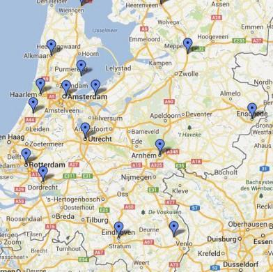 kaart Nederland met blauwe pins