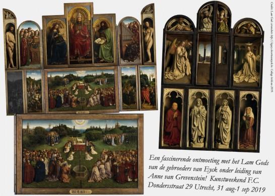 Het Lam Gods van Jan en Hubert van Eyck (Gent). Screenshots reprovrij materiaal legacy.closertovaneyck.be. Collage bvhh.nu 2019.